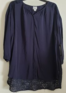 NWT Stylus 3/4 Length Navy Lace Blouse